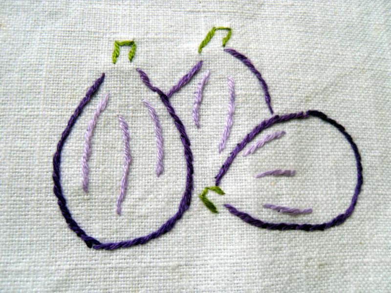 Dessus de pot de confiture de figue, brodé au point de tige